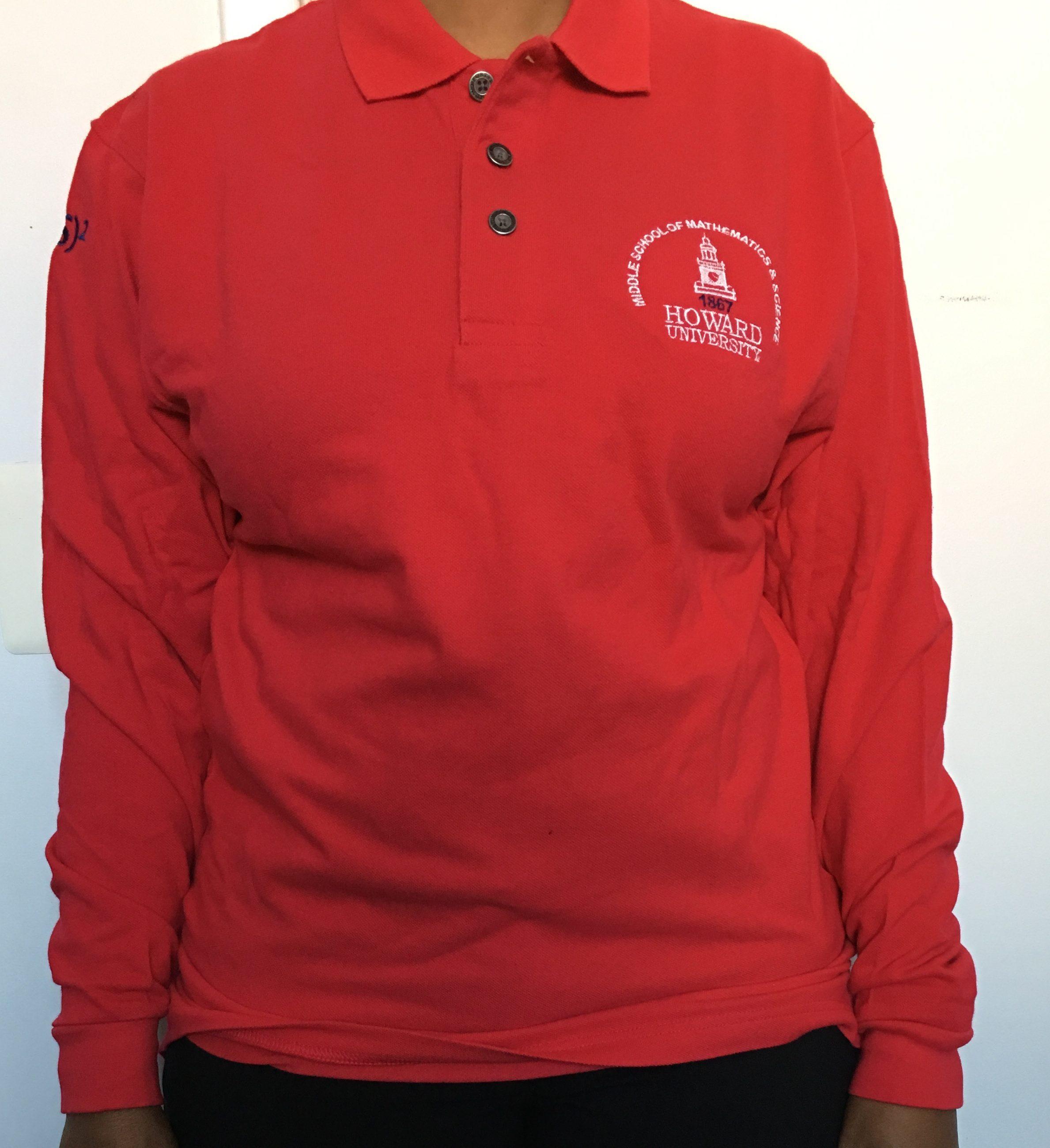 Howard Polo Shirt Long Sleeve Red Small Howard University Middle